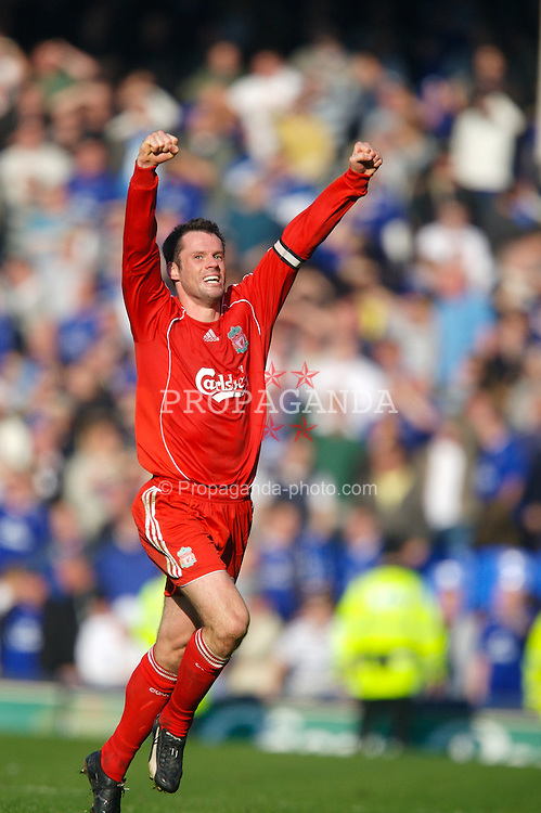 Liverpool, England - Saturday, October 20, 2007: Liverpool's Jamie Carragher celebrates beating Everton 2-1 during the 206th Merseyside Derby match at Goodison Park. (Photo by David Rawcliffe/Propaganda)