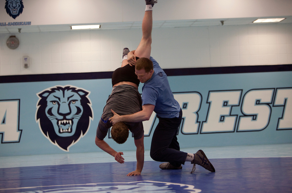 Assistant wrestling coach of the Columbia University's wrestling team, Hudson Taylor live wrestling with Josh Houldsworth during practice at Columbia University in Manhattan, NY on May 20, 2013. Taylor has been one of very few athletes who have supported the LGBT community, even though he himself is straight.
