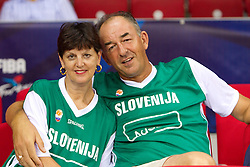 Hilarij Berezec with his wife, mother and father of Primoz Brezec of Slovenia  during to the Preliminary Round - Group B basketball match between National teams of USA and Slovenia at 2010 FIBA World Championships on August 29, 2010 at Abdi Ipekci Arena in Istanbul, Turkey.  (Photo by Vid Ponikvar / Sportida)