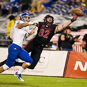 20 October 2018: San Diego State Aztecs tight end Parker Houston (82) dives for a pass just out of his reach in the second quarter. The Aztecs beat the Spartans 16-13 Saturday night at SDCCU Stadium.
