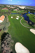 Aerial portrait of fairway at Bonaventrue Country Club, Weston Florida.  Alligation Alley is in background headed west into the Everglades