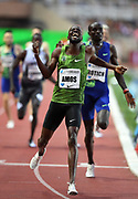 Nijel Amos (BOT) celebrates after winning the 800m in a meet record 1:41.89 during the Herculis Monaco in an IAAF Diamond League meet at Stade Louis II stadium in Fontvieille, Monaco on Friday, July 12, 2019. (Jiro Mochizukii/Image of Sport)