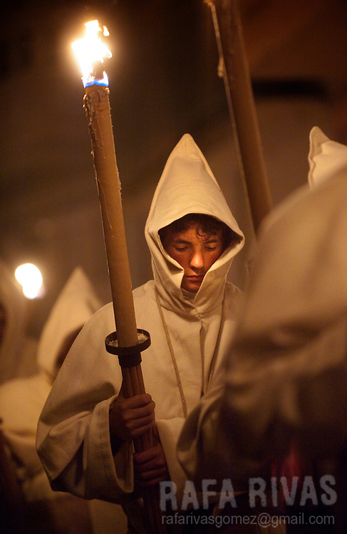 "Members of ""El Cristo de la Buena Muerte"" (Good death's Christ) brotherhood march during the Holy Monday procession in Zamora, Northwestern Spain, on April 18, 2011. Zamora celebrates one of the most important and oldest Holy Weeks in Spain. Photo Rafa Rivas"