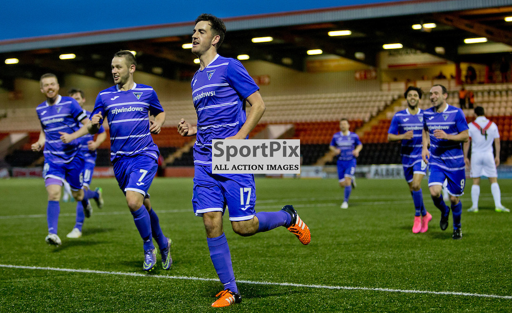 Airdrieonians v Dunfermline Athletic SPFL League One Season 2015/16 Excelsior Stadium 14 November 2015<br /> Shaun Byrne celebrates making it 2-0<br /> CRAIG BROWN | sportPix.org.uk