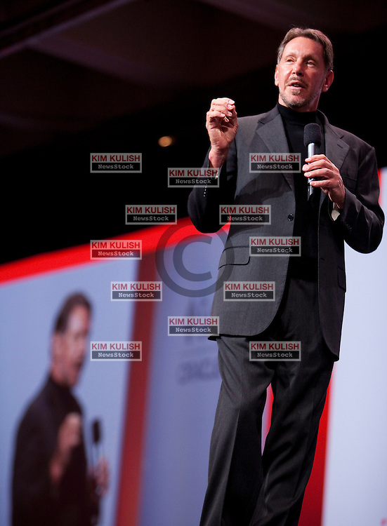 Larry Ellison, chief executive officer of Oracle Corp., gives the keynote address at the annual Oracle OpenWorld conference in San Francisco, California,  Oracle is launching new software an hardware products at the annual event.