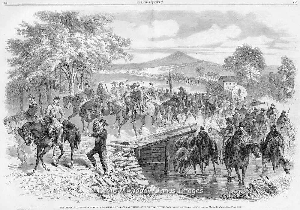 "Civil War: Civil War Harper's Weekly 1862 newspaper features a stunning illustration of General JEB Stuart's Cavalry.  The image shows the men on a Cavalry Raid through Maryland and Pennsylvania.  The Illustration is captioned, ""The Rebel Raid Into Pennsylvania- Stuart's Cavalry on Their Way to the Potomac.- Sketched Near Poolesville, Maryland, by MR. A. R. WAUD. See page 698."" Harper's Weekly November 1, 1862"