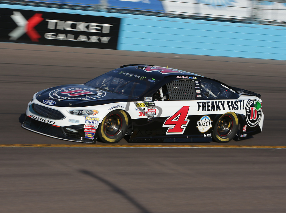Kevin Harvick qualifies for Sunday's NASCAR Cup Series auto race on Friday, March 17, 2017, in Avondale, Ariz.  (AP Photo/Rick Scuteri)