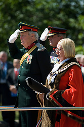Deputy Lord Lieutenant Colonel Jonathan Hunt OBE, Colonel of the Regiment  Colonel Simon Newton MBE and The Mayor of Barnsley Councillor Margaret Sheard Freedom Parade 3rd Battalion The Yorkshire Regiment Barnsley South Yorkshire  22 June 2010 .Images © Paul David Drabble.