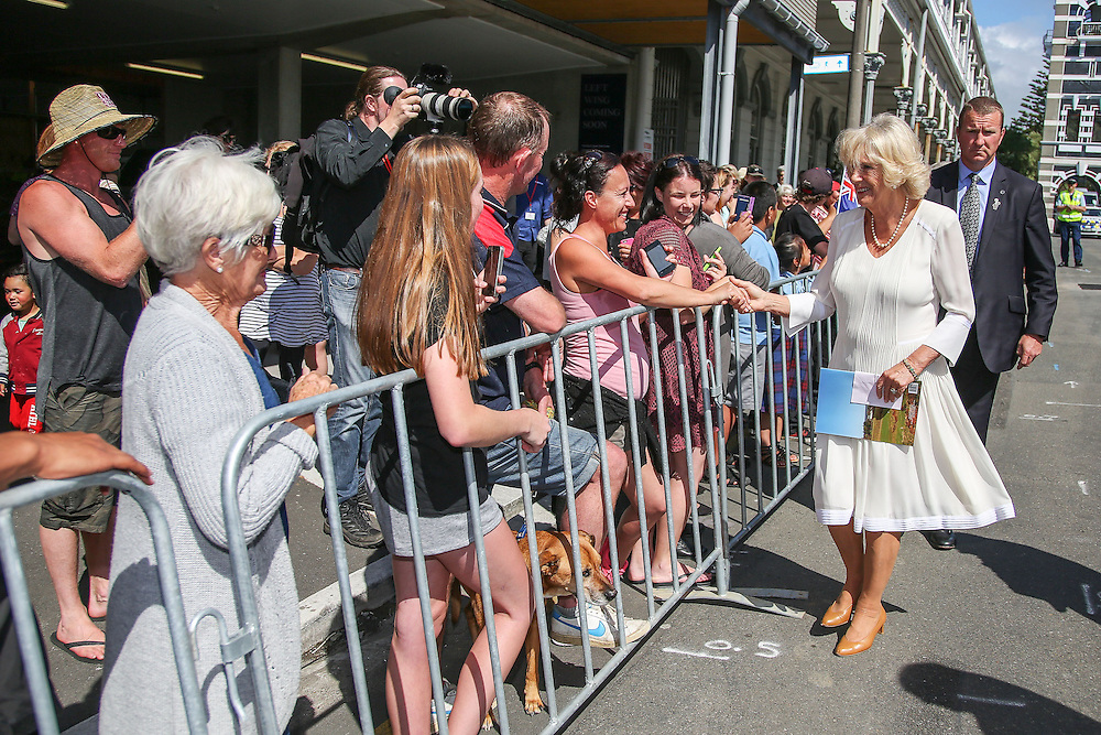 Camilla, Duchess of Cornwall meets members of the public during a visit to the Len Lye Centre, New Plymouth, New Zealand, New Zealand, Monday, November 09, 2015. Credit:SNPA / Getty, Hagen Hopkins  **POOL**