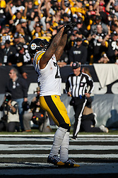 OAKLAND, CA - DECEMBER 09: Running back Stevan Ridley #22 of the Pittsburgh Steelers celebrates after scoring a touchdown against the Oakland Raiders during the second quarter at O.co Coliseum on December 9, 2018 in Oakland, California. (Photo by Jason O. Watson/Getty Images) *** Local Caption *** Stevan Ridley