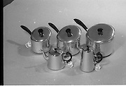 20-25/05/1966<br /> 05/20-25/1966<br /> 20-25 May 1966<br /> Competition prizes photographed at Lensmen Studio for Esso (Ireland) Ltd.  A set of Castle Brand  aluminium ware pots and tea/coffee pots.