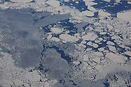Aerial view in April of sea ice south of Spitsbergen island; Svalbard, Norway.