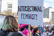 "San Francisco, USA. 19th January, 2019. The Women's March San Francisco begins with a rally at Civic Center Plaza in front of City Hall. A protester carries a sign reading: ""Intersectional Feminist!"" Credit: Shelly Rivoli/Alamy Live News"