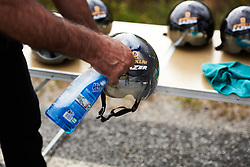 Helmets get a polish in the Alé Cipollini camp at Ladies Tour of Norway 2018 Team Time Trial, a 24 km team time trial from Aremark to Halden, Norway on August 16, 2018. Photo by Sean Robinson/velofocus.com