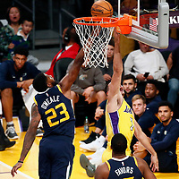 10 October 2017: Utah Jazz forward Royce O'Neale (23) blocks Los Angeles Lakers forward Larry Nance Jr. (7) during the Utah Jazz 105-99 victory over the LA Lakers, at the Staples Center, Los Angeles, California, USA.