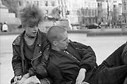 Punk Girl and George at Trafalgar Square, London, 1980s.