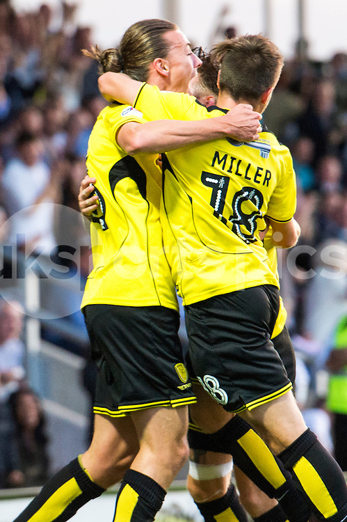 Jackson Irvine of Burton Albion celebrates scoring the first goal of the game to take Burton to lead 1-0 during the EFL Sky Bet Championship match between Burton Albion and Derby County at the Pirelli Stadium, Burton upon Trent, England on 26 August 2016. Photo by Brandon Griffiths.