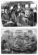 Passengers on a London to Glasgow train. Top: As It Should Be (comfortable and well-ordered). Bottom: As it Is (crowded and smoky). Wood engraving 1884