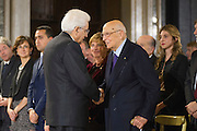 Rome dec 21th 2015, traditional Christmas greetings at Presidential Palace. In the picture the president of the Republic, Mr Sergio Mattarella, and the former president, Giorgio Napolitano
