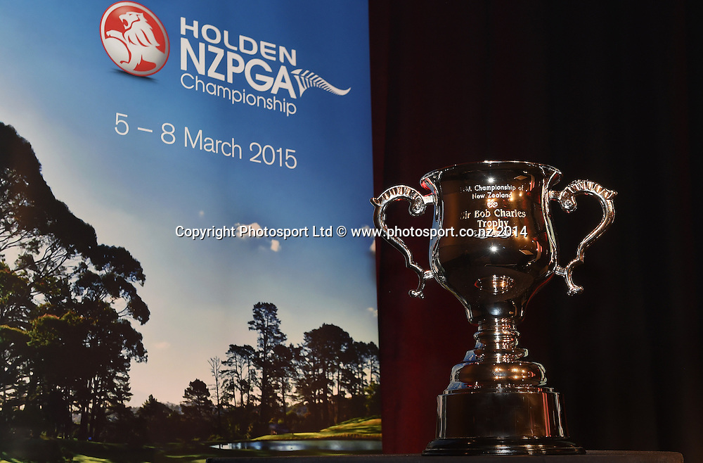 The leading New Zealand player in the 2015 Holden New Zealand PGA Championship will be the first recipient of the Sir Bob Charles Trophy. Launch announcement of the 2015 Holden PGA held at Sky City, Auckland on Tuesday 25 November 2014. Photo: Andrew Cornaga/www.photosport.co.nz