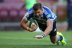 Jonny Kotze of Western Province dives over to score the opening try during the Currie Cup Premier Division match between the DHL Western Province and the Sharks held at the DHL Newlands Rugby Stadium in Cape Town, South Africa on the 3rd September  2016<br /> <br /> Photo by: Shaun Roy / RealTime Images