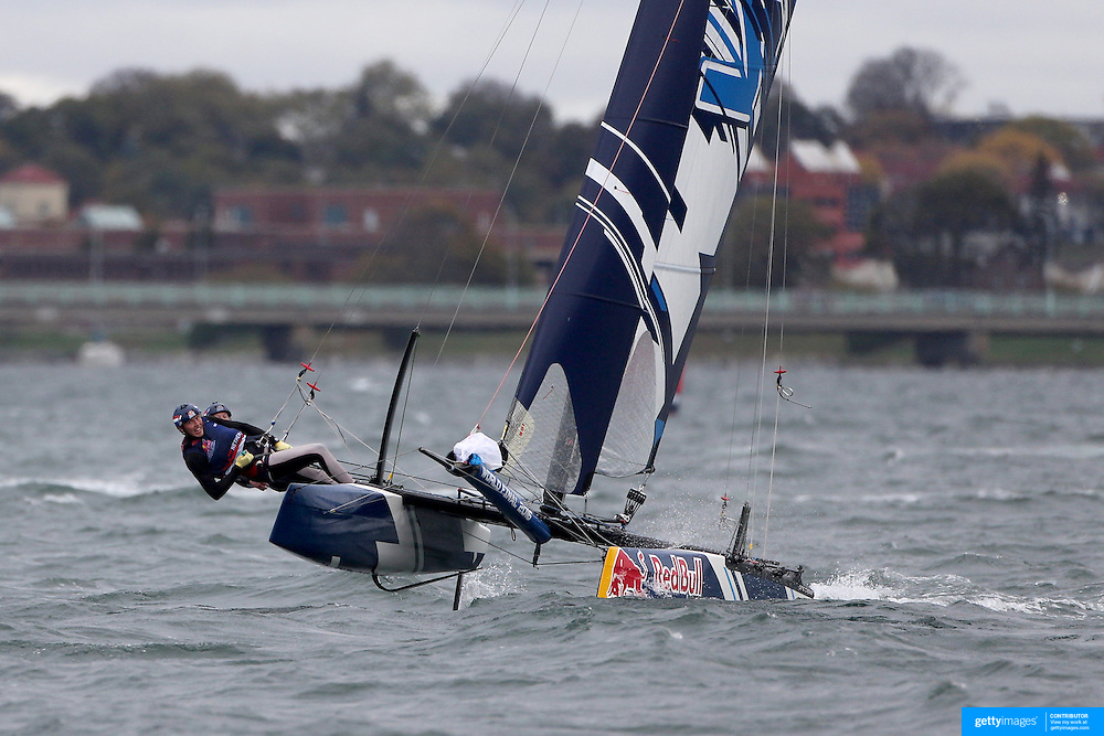 NEWPORT, RHODE ISLAND- OCTOBER 22:  The Dutch team of Duke Pos and Niels Broekhuizen in action during the Red Bull Foiling Generation World Final 2016 on October 22, 2016 in Narragansett Bay, Newport, Rhode Island. (Photo by Tim Clayton/Corbis via Getty Images)
