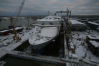 Oasis of the Seas. Float Out, Turku, Finland..Royal Caribbean's Oasis of the Seas the worlds largest cruise ship, enters final construction phase  at STX ship yard in Finland.