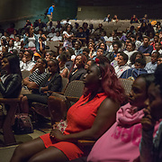 WASHINGTON, DC -JUL22: Students participating in the Student Youth Employment Program, SYEP, watch a screening of Selma after their weekly general assembly meeting for the Marion S. Barry Youth Leadership Institute's Summer Training Program, at Catholic University in Washington, DC, July 22, 2015. (Photo by Evelyn Hockstein/For The Washington Post)