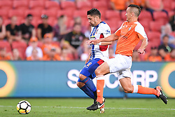 October 22, 2017 - Brisbane, QUEENSLAND, AUSTRALIA - Dimitri Petratos of the Jets (#7, left) and Jade North of the Roar (#13, right) compete for the ball during the round three Hyundai A-League match between the Brisbane Roar and the Newcastle Jets at Suncorp Stadium on October 22, 2017 in Brisbane, Australia. (Credit Image: © Albert Perez via ZUMA Wire)
