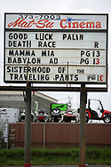 10th September 2008, Wasilla, Alaska. A Cinema sign wishing Alaskan Governor, Sarah Palin luck also advertising the movie Death Race. PHOTO © JOHN CHAPPLE / REBEL IMAGES.tel: +1-310-570-910