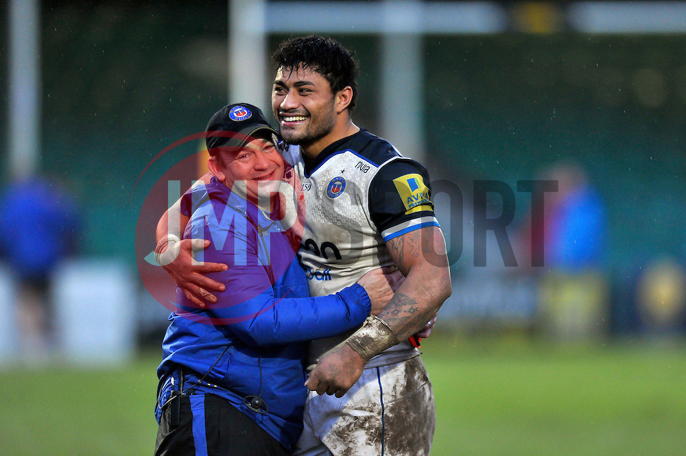 Amanaki Mafi with Bath Rugby first team coach Darren Edwards after the match - Mandatory byline: Patrick Khachfe/JMP - 07966 386802 - 13/02/2016 - RUGBY UNION - Sixways Stadium - Worcester, England - Worcester Warriors v Bath Rugby - Aviva Premiership.