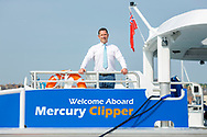 IMAGE PROVIDED FREE FOR EDITORIAL USE<br /> Sean Collins, CEO and co-founder of MBNA Thames Clippers pictured on board the newest addition to London&rsquo;s river bus transport network, Mercury Clipper, in East Cowes today as the vessel begins a 200 nautical mile maiden journey to the Capital from the Isle of Wight. Joining the MBNA Thames Clippers fleet, Mercury Clipper, is the first of two new boats that will enter service in London this summer. Six members of crew &ndash; with over 80 years of combined experience between them &ndash; will carry out the 12 hour journey, at an average speed of 20 knots. <br />  <br /> A &pound;6.3 million investment in London&rsquo;s port and transport infrastructure, Mercury Clipper and Jupiter Clipper have been built at the Wight Shipyard Co Ltd on the Isle of Wight. The boats took 10 months to build, creating over 75 new jobs across the Isle of Wight and London, including the hiring of two dedicated apprentices and engagement with over 100 local suppliers from across the South of England.<br />  <br /> For more information, please visit www.mbnathamesclippers.com<br /> Picture date: Wednesday June 21, 2017.<br /> Photograph by Christopher Ison &copy;<br /> 07544044177<br /> chris@christopherison.com<br /> www.christopherison.com