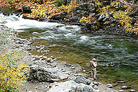 Man fly fishing on the South Fork of the Yuba River in Northern California.<br />
