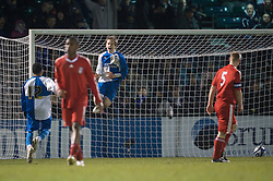 BRISTOL, ENGLAND - Thursday, January 15, 2009: Bristol Rovers' Eliot Richards celebrates scoring an equalising penalty against Liverpool during extra-time of the FA Youth Cup match at the Memorial Stadium. (Mandatory credit: David Rawcliffe/Propaganda)