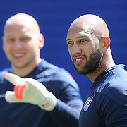 Goalkeepers Tim Howard, (right), and Brad Guzan, training with the US Mens National Team at Red Bull Arena in preparation for Sunday's game against Turkey as they prepare for the 2014 FIFA World Cup. Red Bull Arena, Harrison, New Jersey, USA. 30th May 2014. Photo Tim Clayton