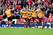 Curtis Main (#9) of Motherwell celebrates Motherwell's first goal (0-1) during the William Hill Scottish Cup Semi-Final match between Motherwell and Aberdeen at Hampden Park, Glasgow, United Kingdom on 14 April 2018. Picture by Craig Doyle.
