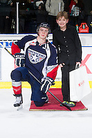 KELOWNA, CANADA - JANUARY 11: Connor Rankin #27 of the Tri City Americans accepts a star of the game award at the Kelowna Rockets on January 11, 2013 at Prospera Place in Kelowna, British Columbia, Canada (Photo by Marissa Baecker/Shoot the Breeze) *** Local Caption ***