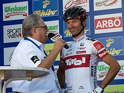 01.07.2013, Tirol, AUT, 65. Oesterreich Rundfahrt, 2. Etappe, Innsbruck - Kitzbühler Horn, im Bild #165 Harald Totschnig, AUT, Tirol Cycling Team mit Toursprecher Harry Mayer // during the 65th Tour of Austria, Stage 2, from Innsbruck to Kitzbühler Horn, Tyrol, Austria on 2013/07/01. EXPA Pictures © 2013, PhotoCredit: EXPA/ R. Eisenbauer
