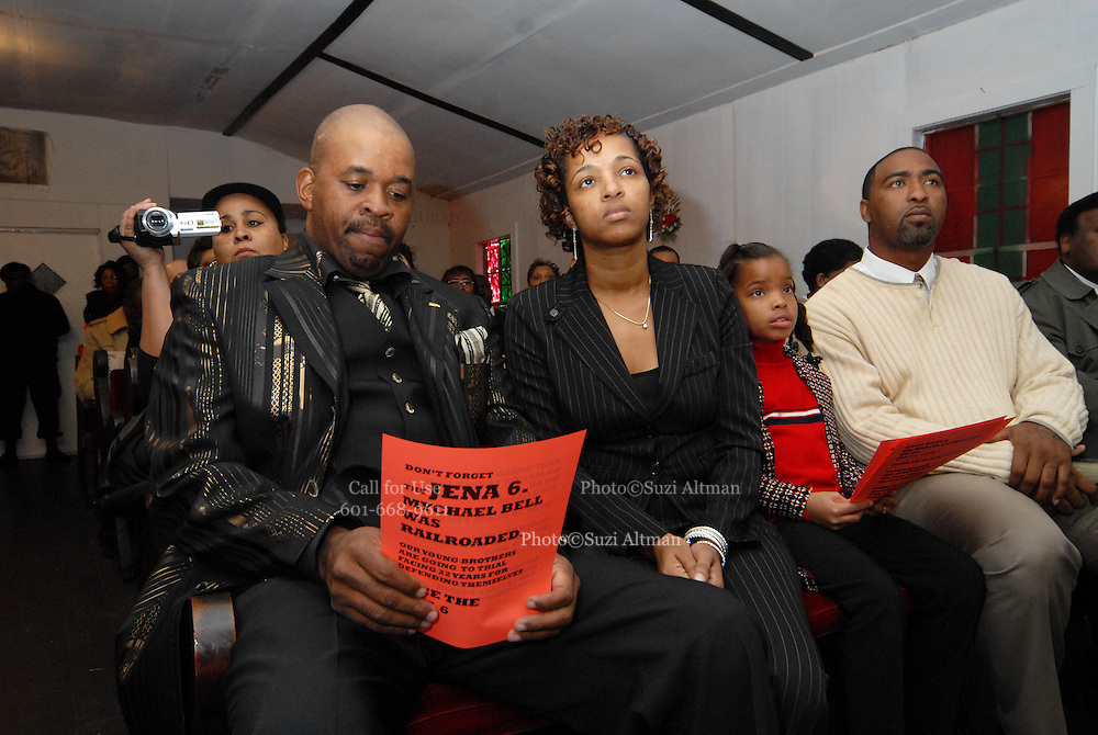 Jon Jenkins, Carwin Jones's father one of the Jena 6, is pictured listening to Rev Sharpton speak while he holds a flyer declaring the innocence of the Jena 6 at the Antioch Baptist Church in Jena LA. Sunday Jan 20,2008. Reverand Al Sharpton spoke at the Antioch Baptist Church in Jena Louisiana. Sharpton came to Jena the day before Martin Luther King holiday because the Nationalist Movement lead by Richard Barrett is to march on Jena Monday during MLK holiday. The Nationalist movement is coming to Jena in response to the Jena 6 rally last year.(Photo/© Suzi Altman)