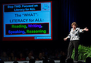 Keynote speaker Sue Szachowicz comments during the opening day of the Houston ISD Summer Leadership Institute at Reliant Center, June 17, 2014.