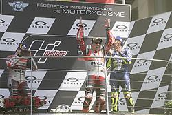 June 3, 2018 - Mugello, Italy, Italy - Valentino ROSSI Andrea DOVIZIOSSI Jorge LORENZO podium winner during Race MotoGP at the Mugello International Cuircuit for the sixth round of MotoGP World Championship Gran Premio d'Italia Oakley on June 3, 2018 in Scarperia, Italy. (Credit Image: © Fabio Averna/NurPhoto via ZUMA Press)