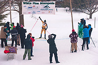 Overall winner of the 45k, Sam Holmes reaches the finish line at the Annual White Pine Stampede at Schuss Mountain Shanty Creek Resort and Spa on February 2, 2019.