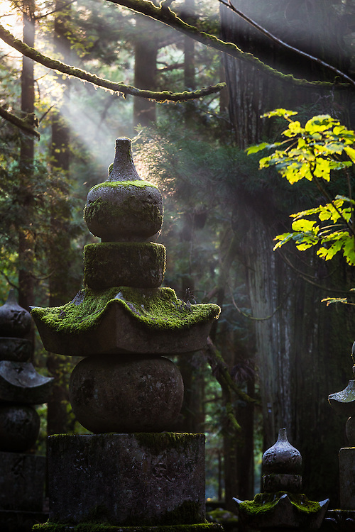 During early morning, light beams penetrate the forest at Okunoin Cemetery illuminating some of the many graves and tombstones.