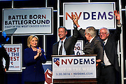 "Hillary Clinton, Gov. Martin O'Malley, Sen. Harry Reid and Sen. Bernie Sanders stand before supporters for the Nevada State Democratic Party ""Battle Born / Battleground"" First in the West Caucus Dinner at The MGM Grand on Wednesday, January 6, 2015.  L.E. Baskow"