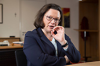 15 MAR 2018, BERLIN/GERMANY:<br /> Andrea Nahles, SPD Fraktionsvorsitzende, waehrend einem Interview, in ihrem Buero, Jakob-Kaiser-Haus, Deutscher Bundestag<br /> IMAGE: 20180315-01-009<br /> KEYWORDS: B&uuml;ro