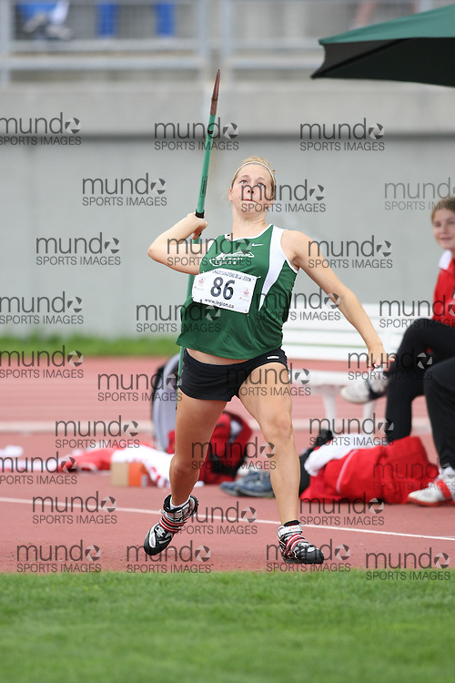 (Sherbrooke, Quebec---10 August 2008) Rebecca Perry competing in the javelin at the 2008 Canadian National Youth and Royal Canadian Legion Track and Field Championships in Sherbrooke, Quebec. The photograph is copyright Sean Burges/Mundo Sport Images, 2008. More information can be found at www.msievents.com.