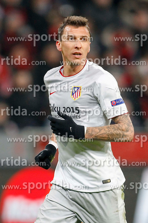 25.02.2015, BayArena, Leverkusen, GER, UEFA EL, Bayer 04 Leverkusen vs Atletico Madrid, 1. Runde, R&uuml;ckspiel, im Bild Mario Mandzukic (Atletico Madrid #9) // during the UEFA Europa League 1st Round, 2nd Leg match between Bayer 04 Leverkusen and Atletico Madrid at the BayArena in Leverkusen, Germany on 2015/02/25. EXPA Pictures &copy; 2015, PhotoCredit: EXPA/ Eibner-Pressefoto/ Schueler<br /> <br /> *****ATTENTION - OUT of GER*****