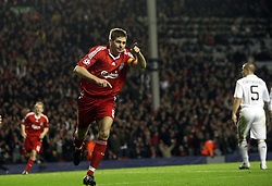 Steven Gerrard celebrates after scoring Liverpool's third goal of the night..Uefa Champions League, First knock-out round, second leg.Liverpool v Real Madrid.Anfield.10.03.09