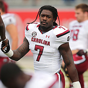 South Carolina Gamecocks defensive end Jadeveon Clowney (7) prepares for an NCAA football game between the South Carolina Gamecocks and the Central Florida Knights at Bright House Networks Stadium on Saturday, September 28, 2013 in Orlando, Florida. (AP Photo/Alex Menendez)