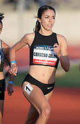 May 16, 2019; Los Angeles, CA, CA, USA; Savannah Camacho-Colon wins a women's 800m heat in 2:05.39  during the USATF Distance Classic at Occidental College.